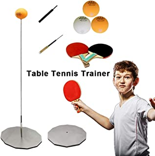 Table Tennis Trainer with Elastic Soft Shaft, Decompression Leisure Sports 2 Table Tennis Paddle 3 Ping Pong Balls Stainless Steel Base 1 ,Set Table Tennis Trainer Indoor or Outdoor Play