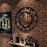 Framy 3D Vintage Wanduhr Stille Wanduhr Römische Zahl Aus Holz Große Runde Nicht Tickende Quarzdekoration Kunstuhren 80Cm / 32 Inch,b,32in