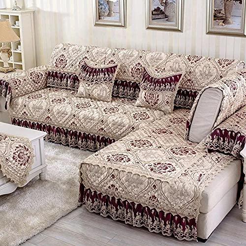 KENEL Multifunción Funda de sofá, Impermeable Funda Sofá Forma L La Funda para Sofa,Anti-resbalón Cubierta Seccional del Couch,Estilo Europeo con Encaje (Solo 1 Pieza/no Todo Conjunto)-Tirar Rojo_