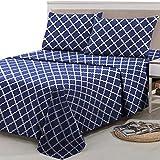 Lux Decor Collection King Bed Sheets Set -King Sheets Brushed Microfiber 1800 Thread Count Bedding -Wrinkle, Stain, Fade Resistant -Deep Pocket King Size Sheets Set -4 PC(King, Quatrefoil Navy Blue)