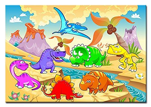 Berger Designs - Wandbild für das Kinderzimmer auf Leinwand als Kunstdruck in verschiedenen Größen. Lustige Comic Dinosaurier. Beste Qualität aus Deutschland (120 x 80 cm (BxH))