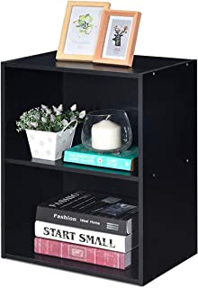 Giantex Bookshelf and Bookcase 2-Layer Storage Shelf, W/Large-Capacity Open Storage Space, MDF P2 Veneer, for Living Room Bedroom Study Office Multi-Functional Furniture Display Cabinet (Black, 1)
