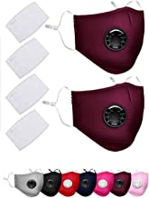 2 Pack Face Covers with 4 Air Filter Cotton Sheet Washable Reusable Face Protector with Adjustable Straps-Jujube Red