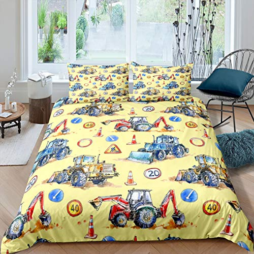 Kids Car Comforter Cover Construction Vehicles Bedding Set Cartoon Machinery Truck Duvet Cover for Boys Girls Teens Construction Site Excavator Bedspread Cover Room Decor Bedclothes Double Size