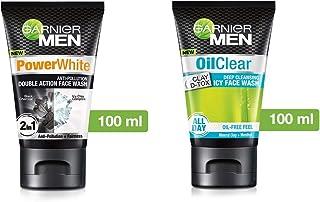 Garnier Men Power White Anti-Pollution Double Action Facewash, 100gm And Garnier Men Oil Clear Clay D-Tox Deep Cleansing I...