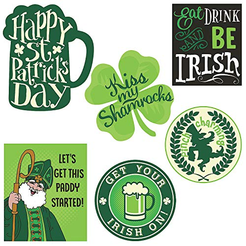 Fun Express - St. Patrick's Day Wall Cutouts (6pc) for St. Patrick's Day - Party Decor - Wall Decor - Cutouts - St. Patrick's Day - 6 Pieces