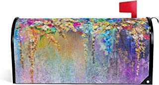 huagu Abstract Floral Watercolor Blurred Painting Herbs Weeds Blossoms Ivy Mailbox Cover,Magnetic Mailbox Cover Wraps for Outside Garden Home Decor,25.5x21 Inch