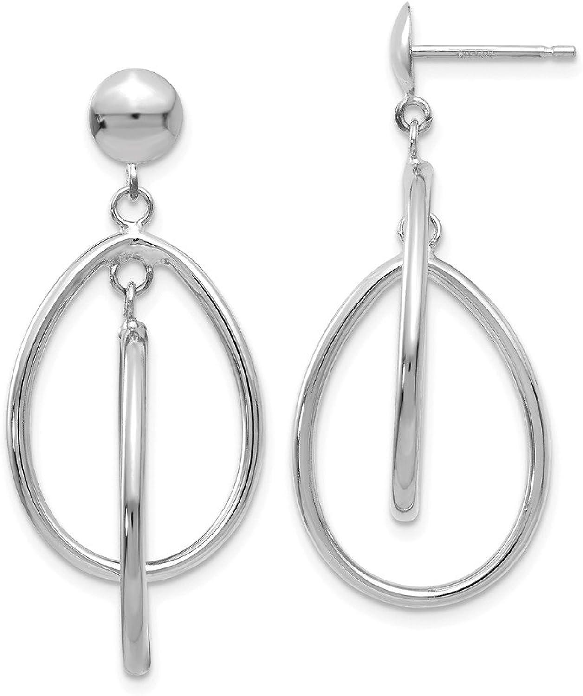 Beautiful White gold 14K 14k White gold Polished Oval Dangle Post Earrings