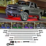 LEDGlow 6pc Multi-Color Truck Slimline LED Underbody Underglow Accent Neon Lighting Kit - 10 Solid Colors - 13 Unique Patterns - Music Mode - Water Resistant Tubes - Includes Control Box & Remote