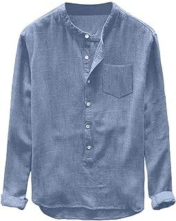 Mens Cotton Linen Shirts,Donci Classics o Neck Loose Comfort Long Sleeve Tops Summer Autumn Casual Button Pocket Blousers
