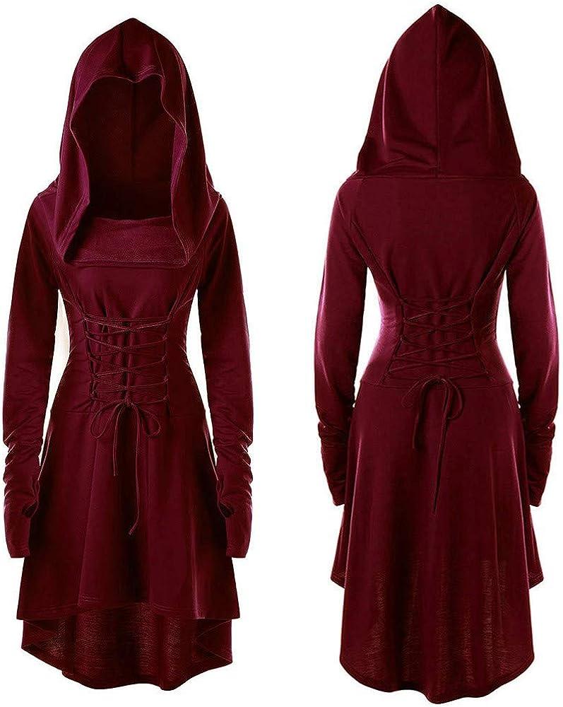 VEMOW Karneval Halloween Cosplay Party Ballkleid Damen Mode Langarm Mit Kapuze Mittelalterliches Kleid Bodenlangen Cosplay Kleid X3-weinrot