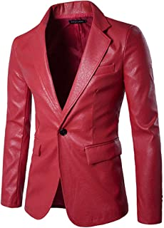 LISTHA Leather Suit Coat Men's Single Row Buckle Blazer Jacket Classic PU Coat