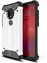 LuckyMi Motorola Moto G7 Case,Moto G7 Case,Moto G7 Plus Case, TPU & Hard PC Hybrid Cover Dual Layer Armor Grip Anti-Scratch Protective Case for Motorola Moto G7 / Moto G7 Plus Smartphone (White)