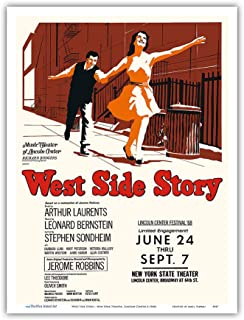 West Side Story - Starring Natalie Wood and Richard Beymer - New York Theater, Lincoln Center - Vintage Theater Poster c.1960s - Master Art Print 9in x 12in
