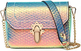 Hologram Crossbody Purse Mermaid Scales Shoulder Bag with 2 Chains for Women