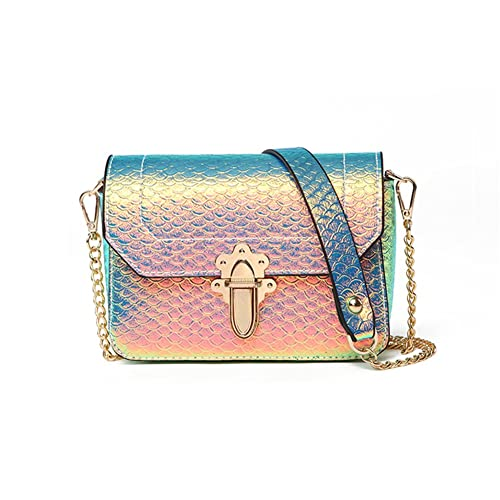 05870c6d72 Hologram Crossbody Purse Mermaid Scales Shoulder Bag with 2 Chains for Women