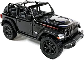 HCK Jeep Wrangler Rubicon 4x4 Convertible Off Road Exploration Diecast Model Toy Car Black