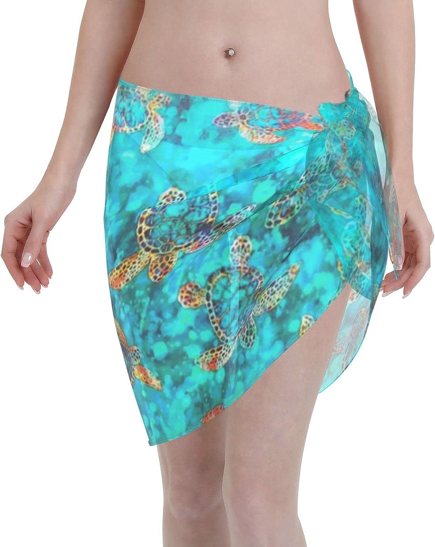 Green Quilting Treasures Tropical Sea Turtle Fabric Women Short Sarongs Beach Wrap Bathing Suits Cover Ups Sheer Short Skirt Bikini Chiffon Scarf
