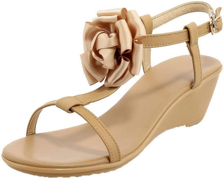 AmoonyFashion Women's Buckle Kitten-Heels PU Open-Toe Solid Sandals