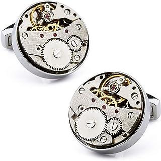 أزرار أكمام ساعة الحركة للرجال مجموعة مخصصة أفضل هدية للزوج والأب والخطيبة والأصدقاء (اللون الفضي)