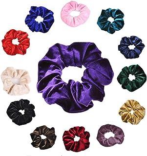 ASHILISIA Colorful Velvet Scrunchies Hair Bobble Elastics Hair Scrunchy Hair Bands Headbands Women Scrunchies Bobbles Hair...