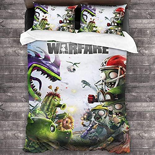 Plants vs. Zombies - Juego de ropa de cama (100% microfibra, impresión digital 3D, PVZ-2, 135 x 200 cm + 80 x 80 cm x 2 cm)