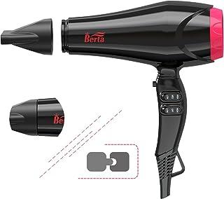 BERTA Professional Hair Dryer 1875 Watts Blow Dryer 2 Speed and 3 Heat Setting Cool Shot Button AC Motor US Plug(Black)