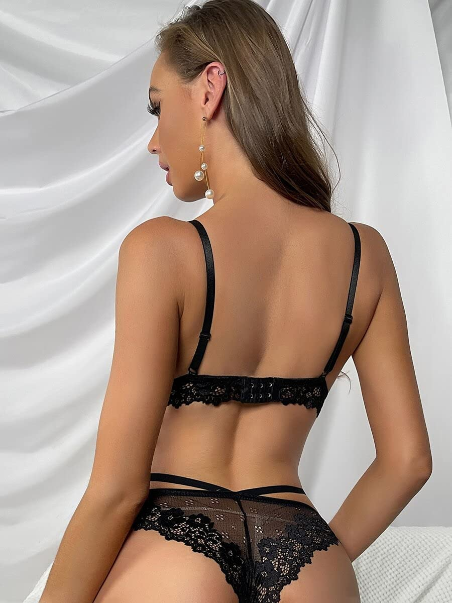 leonnn Sexy 55% OFF Lingerie Floral Lace Contrast Set Col Mesh Selling and selling