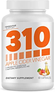 Organic Apple Cider Vinegar Capsules by 310 Nutrition - ACV Capsules Support Healthy Digestion | Supplements Weight Loss Goals, Digestion & Detox Support - 60 Capsules