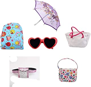 Eric&nicole 6Pc Doll Dress Accessories Set.Backpack Bag Handbag Sunglasses Umbrella Accessories for 14 to18 Inch Gir Doll