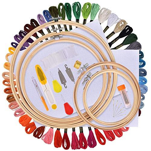 AFDEAL Kit de Inicio de Bordado, Kit de Herramienta de Punto de Cruz, Incluyendo 50 Hilos de Color, 5 Piezas Aros de Bambú, 12 Por 18 Pulgadas Set de 14 Agujas y Reserva Clásica Aida y Agujas