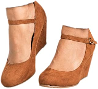 Womens Wedge Pumps Mary Jane Ankle Strap High Heel Round Toe Office Work Wedding Shoes Brown