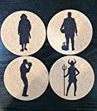 Set of 4 round cork Big Lebowski coasters-The Dude, Walter Sobchak, Jesus Quintana, Maude Lebowski