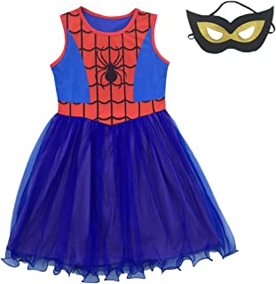 Little/Big Girls Spider-Girl Cosplay Dress Up Costume and Mask