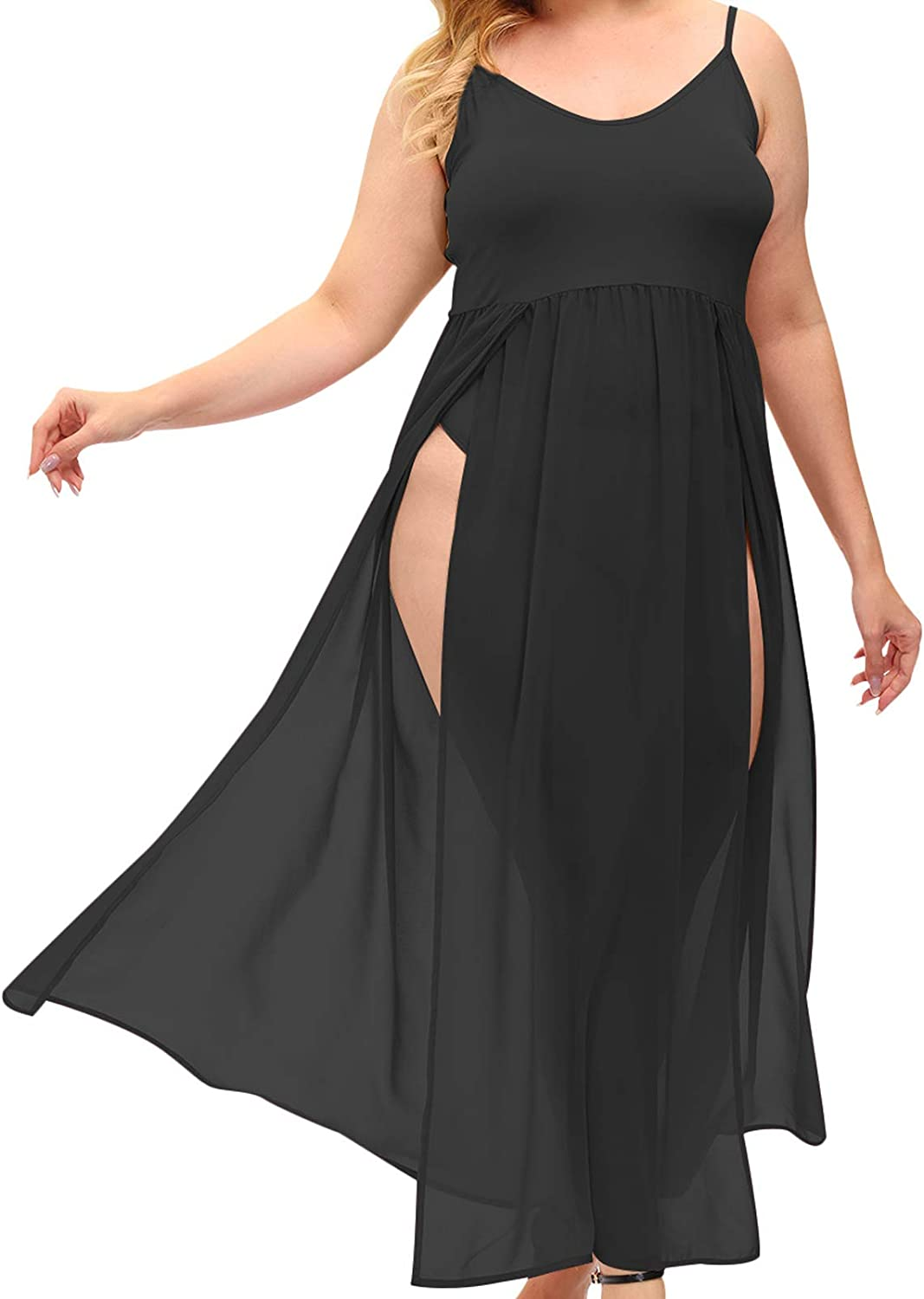 Lexiart Plus Size Sleeveless Spaghetti Strap Cover Up Beach Long Dress with Panty