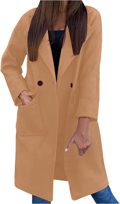 Forwelly Mid Long Cardigan for Women Winter Warm Open Front Trench Coat Outwear Lapel Jacket Overcoat