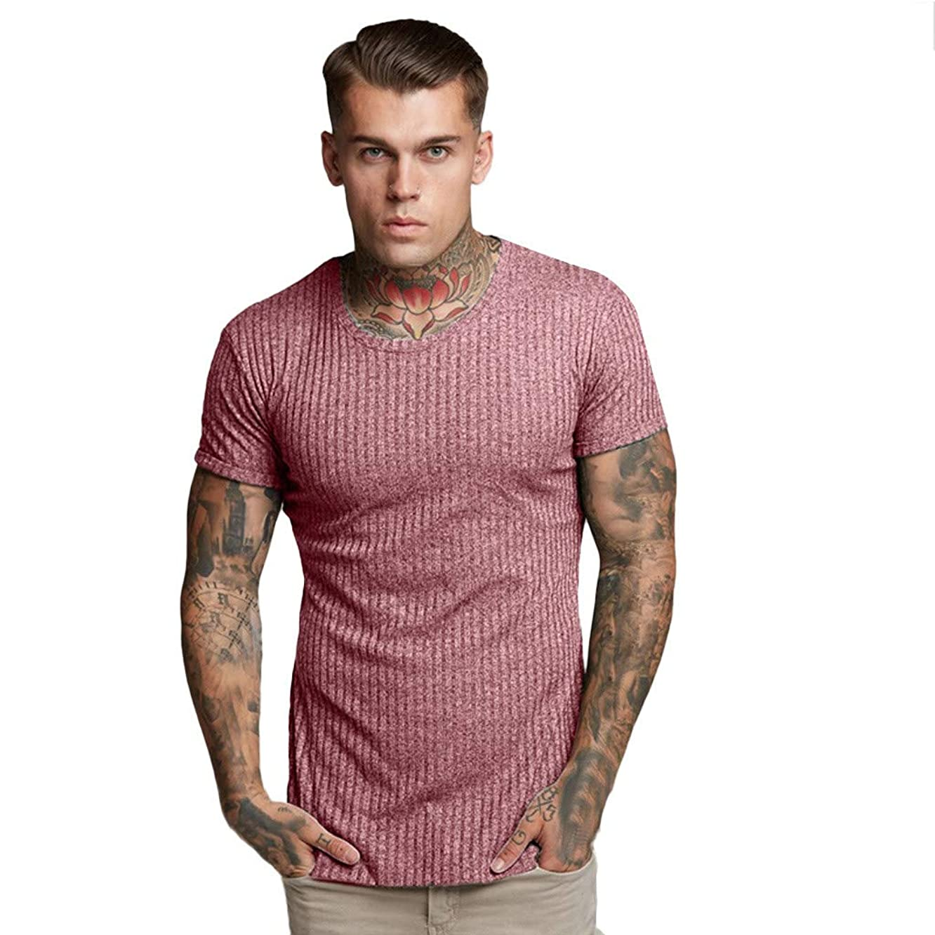 OrchidAmor Fashion Men's Casual Comfy Slim Fit Short Sleeve Sports Shirt Top Blouse 2019 Summer Gym Tees