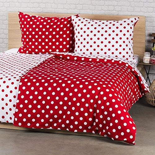 4Home Baumwolle Bettwäsche Roter Punkt, Red/Weiß, 200 x 140 cm, 2-Einheiten