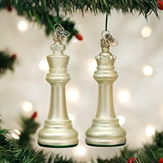 Old World Christmas Blown Glass White King & Queen Chess Game Piece Ornament