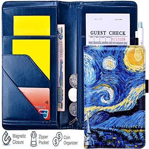 "YOMFUN 5x9"" Server Book for Waitress Book with Zipper Pocket, Van Gogh Magnetic Serving Book, Unique Waitress Wallet Server Guest Book Long Server Wallet Fit Apron (Starry Night)"