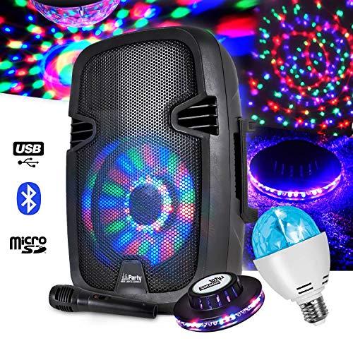 Mobiele luidspreker, 300 W, 8 inch LED, USB/BT/FM + UFO-effect + lamp 4 x 1 W