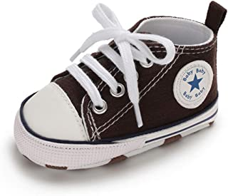 Baby Boys Girls Canvas Shoes Basic Sneakers Lace Up Infant Newborn First Walker Prewalker Shoes(0-18 Months)