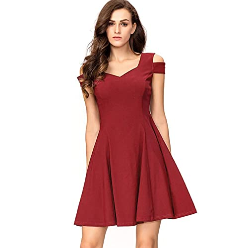 2e56c94592e InsNova Women s Cold Shoulder Little Cocktail Party A-line Skater Dress