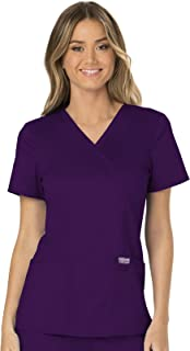 Cherokee WW Revolution WW610 Mock Wrap Top Eggplant S