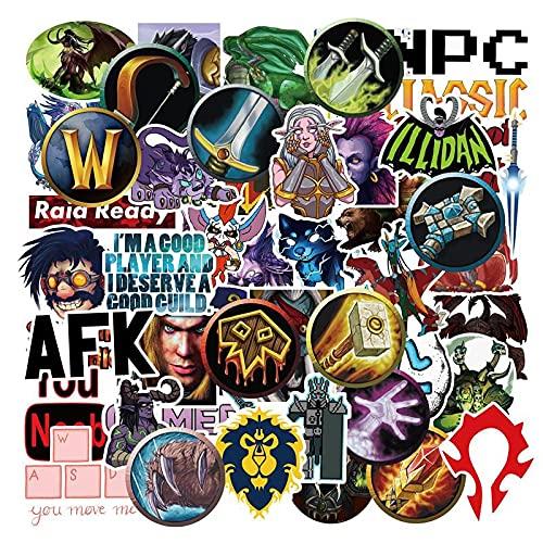 World of Warcraft Blizzard Game Desktop Host Box Pegatina para nevera con carrito de agua para ordenador portátil, 50 unidades