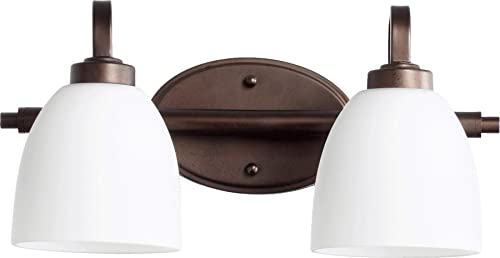 wholesale Quorum 5060-2-86 Transitional Two Light Vanity popular from 2021 Reyes Collection in Bronze / Dark Finish, outlet online sale