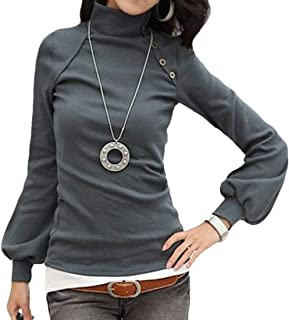 GRMO Women Blouse Long Sleeve Pullover Turtle Neck Solid Top T-Shirt