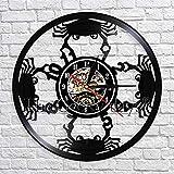 xcvbxcvb Creativo 3D Reloj de Pared Estilo mediterráneo Cangrejo Disco de Vinilo Reloj de Pared Cangrejo Silueta Decoración de Pared Relojes para Sala