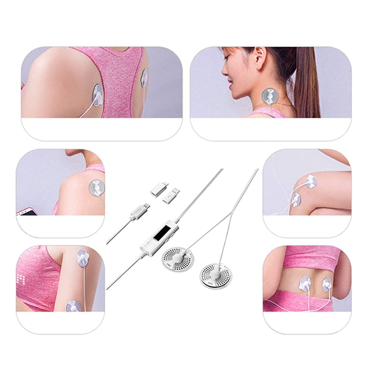 凍る判決ありがたいMobile Massager Smart Shoulder Cervical Lumbar Vertebra Portable Massager Sticker Low Frequency Pulse Physiotherapy Massage