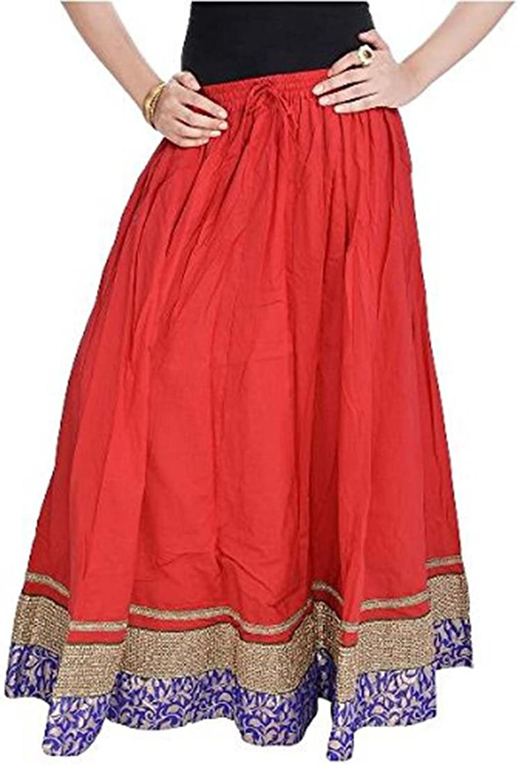 Indian Handicrfats Export Women Rajasthani Red Cotton Skirt(Red)(SMSKT509)